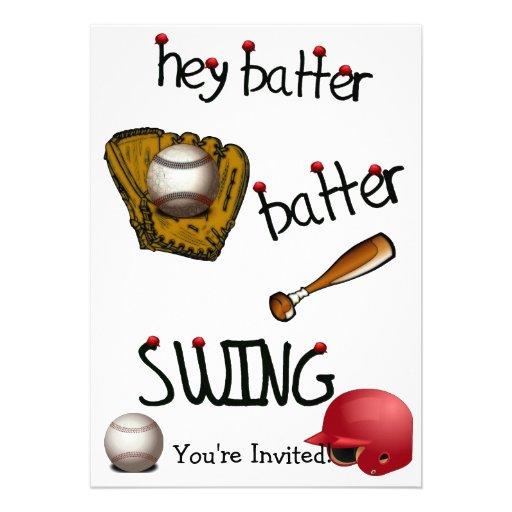 Hey Batter Batter Birthday Universal Party Personalized Invitation