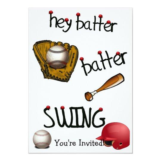 Hey Batter Batter Birthday Universal Party Invitation
