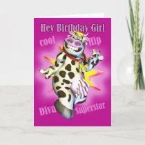 Hey Birthday Girl cute Cow Posing Card