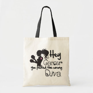 Hey Breast Cancer You Picked The Wrong Diva Tote Bag
