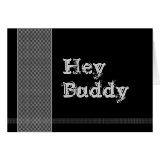 HEY BUDDY Be My Best Man - Black and Silver Checks Card