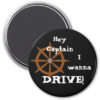 Hey Captain 3 Inch Round Magnet