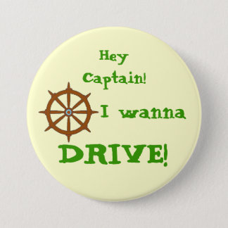 Hey Captain Yellow Pinback Button