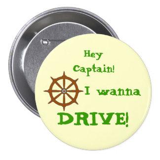 Hey Captain Yellow Pinback Button