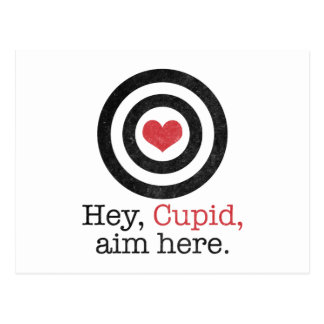 Hey Cupid Aim Here Funny Valentine Postcard