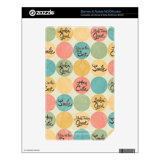 Hey Cutie Circle Pattern Decals For NOOK Color
