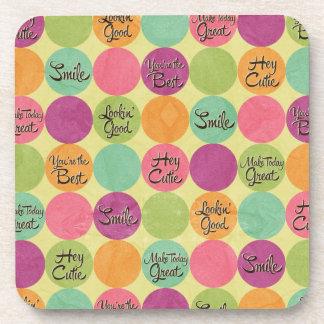 Hey Cutie Circle Pattern Drink Coaster