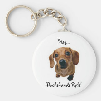 """Hey... Dachshunds Rule!"" Basic Round Button Keychain"