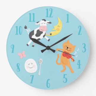 Hey Diddle Diddle Nursery Rhyme Children's Clock