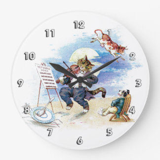 Hey, Diddle Diddle Nursery Rhyme Large Clock