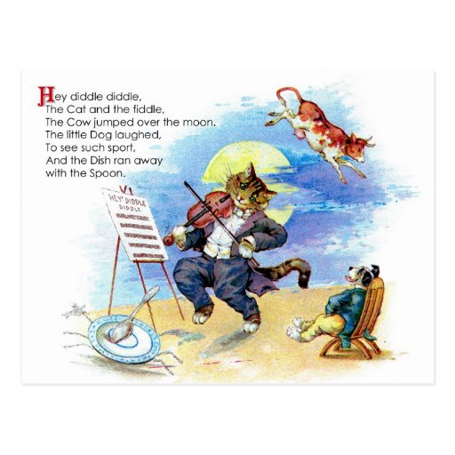 Hey Diddle Diddle Nursery Rhyme Post Cards