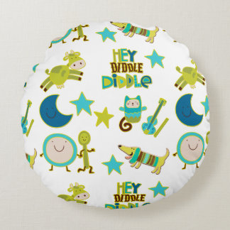 Hey Diddle Diddle Nursery Rhyme Round Pillow