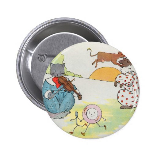 Hey, diddle, diddle!  The cat and the fiddle Pinback Buttons