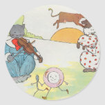 Hey, diddle, diddle!  The cat and the fiddle Classic Round Sticker