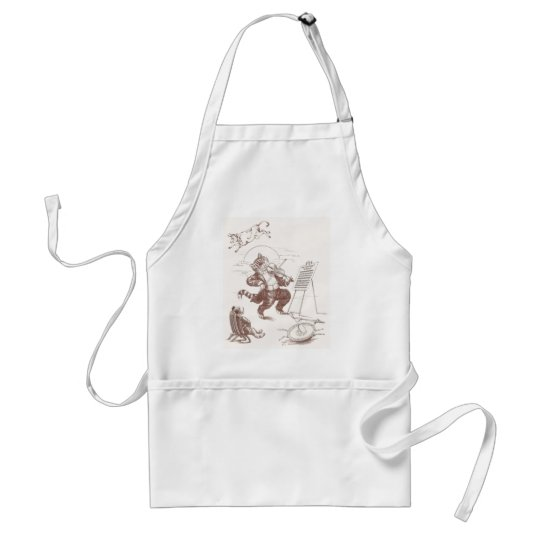 Hey Diddle Diddle Vintage Illustration Adult Apron