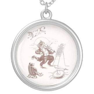 Hey Diddle Diddle Vintage Illustration Round Pendant Necklace