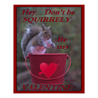 """""""Hey... Don't be Squirrely... Be My Valentine!"""" Poster"""