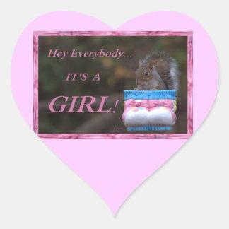 Hey Everybody … It's A Girl! Heart Sticker
