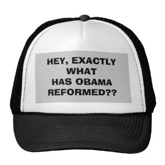 HEY, EXACTLY WHAT HAS OBAMA REFORMED?? TRUCKER HAT