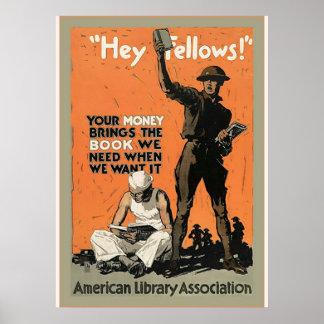 Hey Fellows Vintage World War 1 Poster