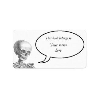 Hey Girl vintage skeleton bookplate