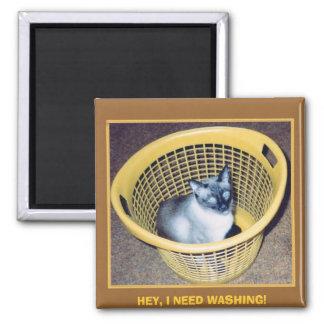 HEY, I NEED WASHING! 2 INCH SQUARE MAGNET