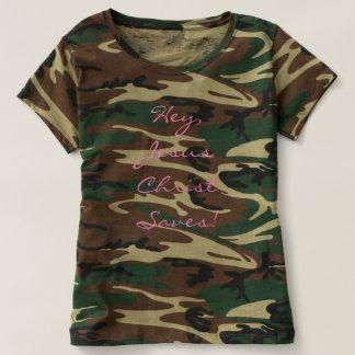 Hey, Jesus Christ Saves! Women's Camo Shirt