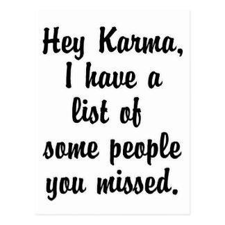 Hey Karma… Postcard