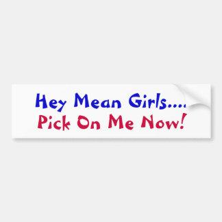Hey Mean Girls...., Pick On Me Now!-bumper Sticker Car Bumper Sticker