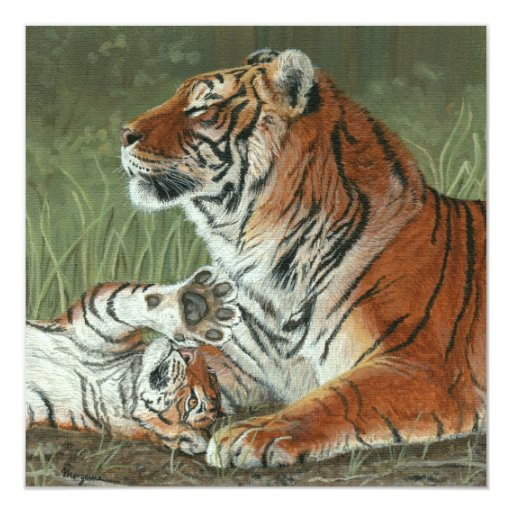Hey Mom Wake Up! Tiger cub and mother card