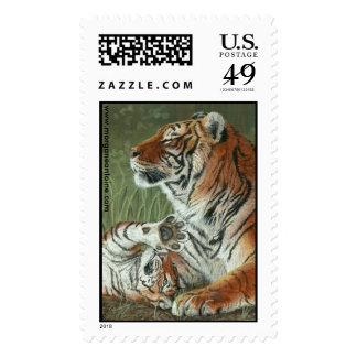 Hey Mom Wake Up Tiger cub large postage stamp