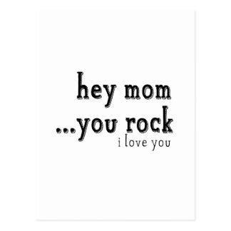 Hey Mom You Rock I love You wordart Postcard