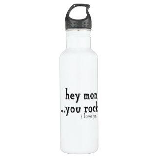 Hey Mom You Rock I love You wordart Water Bottle