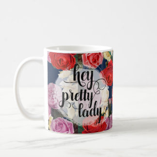 Hey Pretty Lady | Dramatic Vintage Roses On Navy Coffee Mug