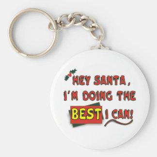 Hey Santa! Basic Round Button Keychain