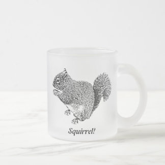 Hey Squirrel Frosted Glass Coffee Mug