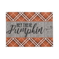 Hey There Pumpkin, Orange Plaid Fall Welcome Doormat