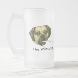 Hey Whats Up 16 Oz Frosted Glass Beer Mug