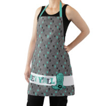 Hey Y'All - Cactus and Cowboy Boot Texas Apron