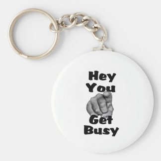 Hey You Get Busy Finger Keychain