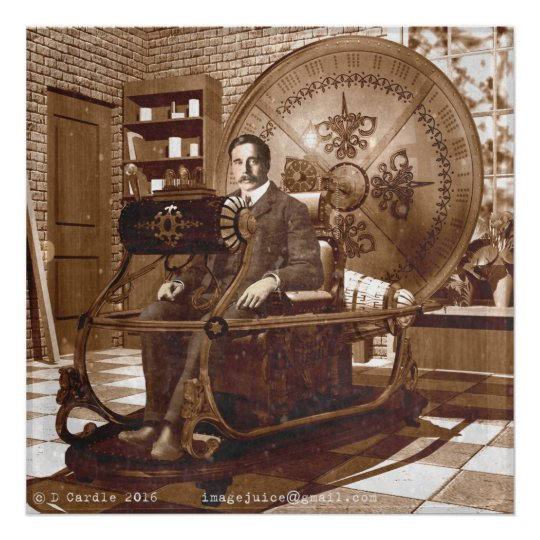 Hg Wells Sitting In The Time Machine Poster Zazzle Com