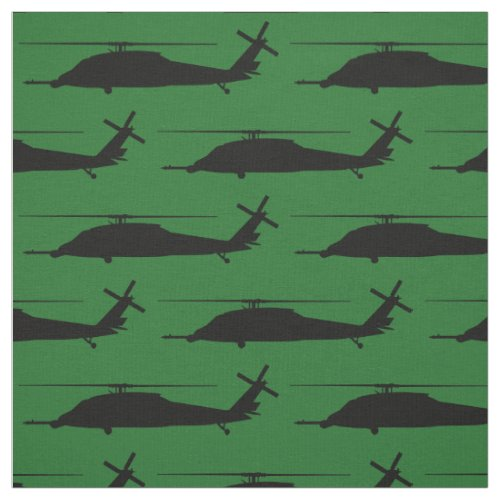 HH_60 Pave Hawk Silhouette Black on Green Fabric