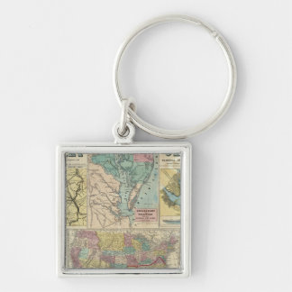 HH Lloyd Campaign Military Charts Silver-Colored Square Keychain