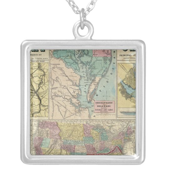 HH Lloyd Campaign Military Charts Silver Plated Necklace