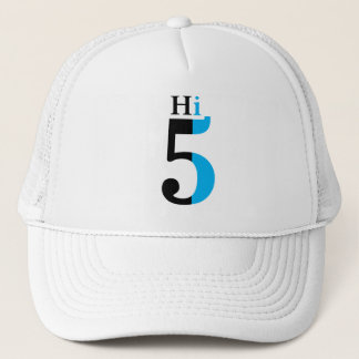 Hi 5 blue trucker hat