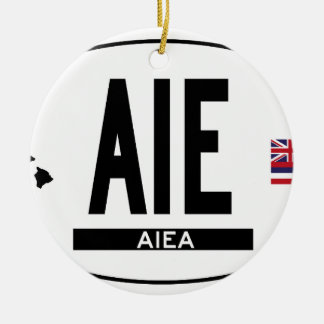 Hi-Aiea-Sticker Double-Sided Ceramic Round Christmas Ornament
