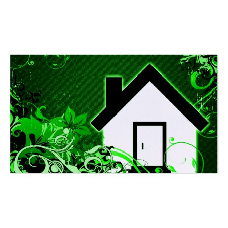 Fluorescent Green Floral Swirls Home Icon Bed and Breakfast Business Card Template