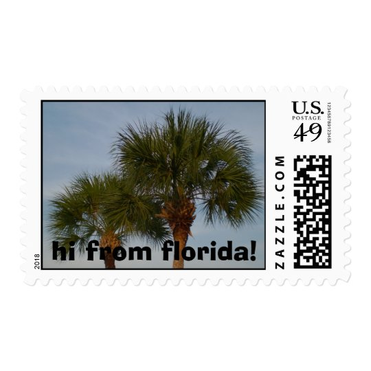 hi from florida palm tree stamp