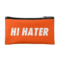 hi hater, bye hater, funny, humor, offensive, cool, fun, enemy, fans, lovers, haters, orange, typography, bag, [[missing key: type_bagettes_ba]] with custom graphic design
