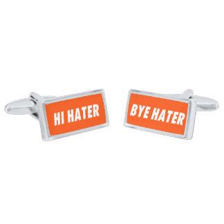 Hi hater - Bye hater Silver Cufflinks